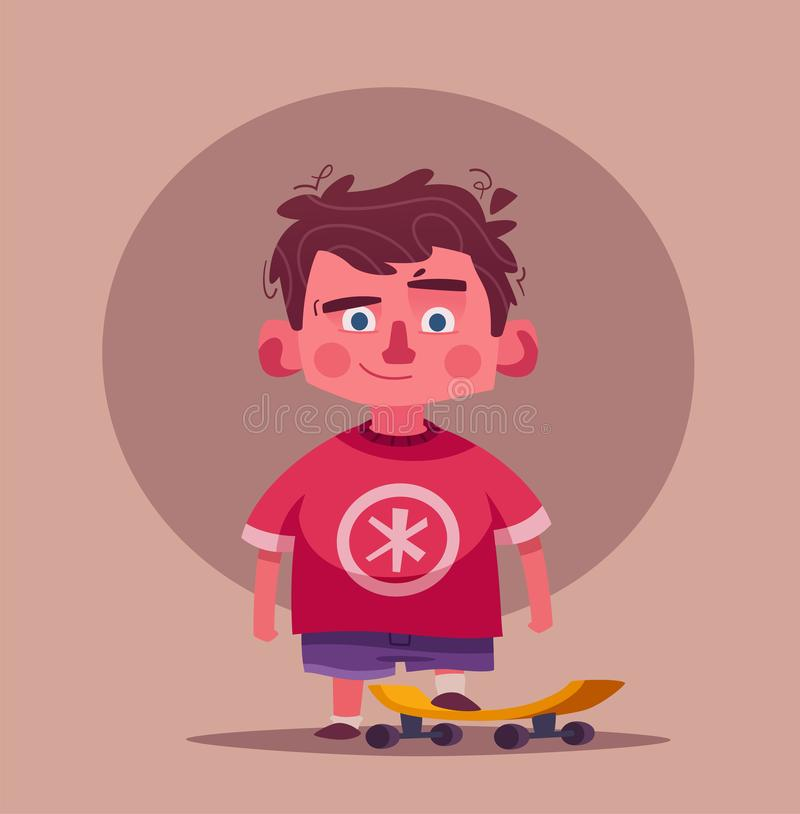Caractère mignon de garçon Illustration de vecteur de dessin animé Écolier avec une planche à roulettes illustration libre de droits