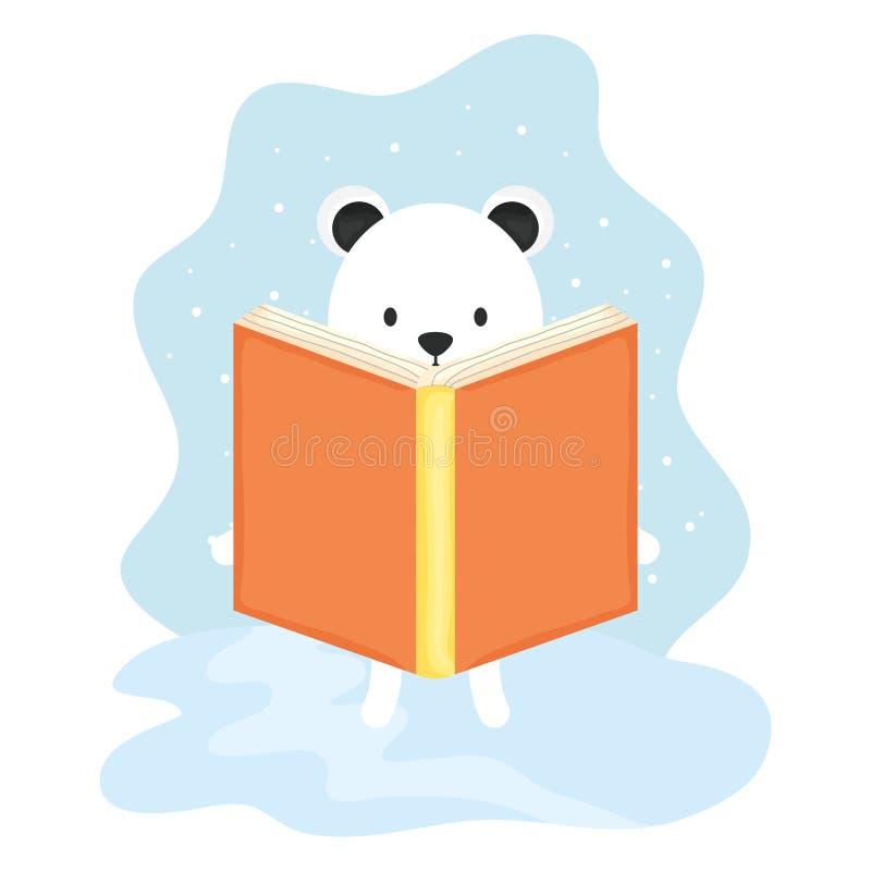 Caractère mignon de livre de lecture d'ours blanc illustration libre de droits