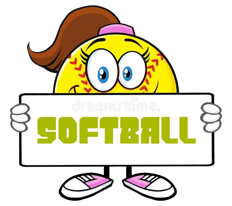 Caractère mignon de mascotte de bande dessinée de fille du base-ball tenant un signe illustration stock