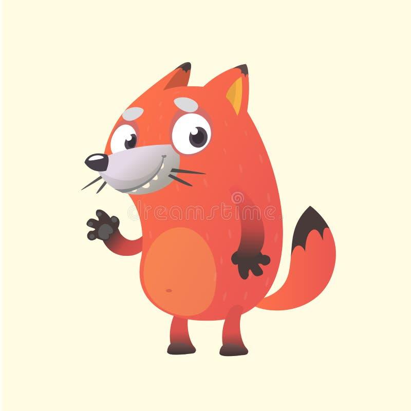 Caractère mignon de mascotte de renard de bande dessinée Dirigez l'illustration d'une main de ondulation de renard orange illustration libre de droits