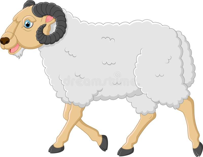 Caractère mignon de moutons de bande dessinée illustration de vecteur