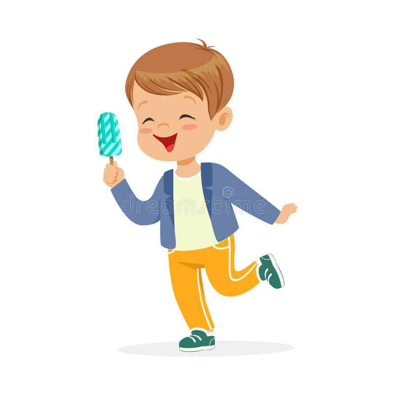 Caractère mignon de petit garçon se sentant heureux avec son illustration de vecteur de bande dessinée de crème glacée  illustration de vecteur