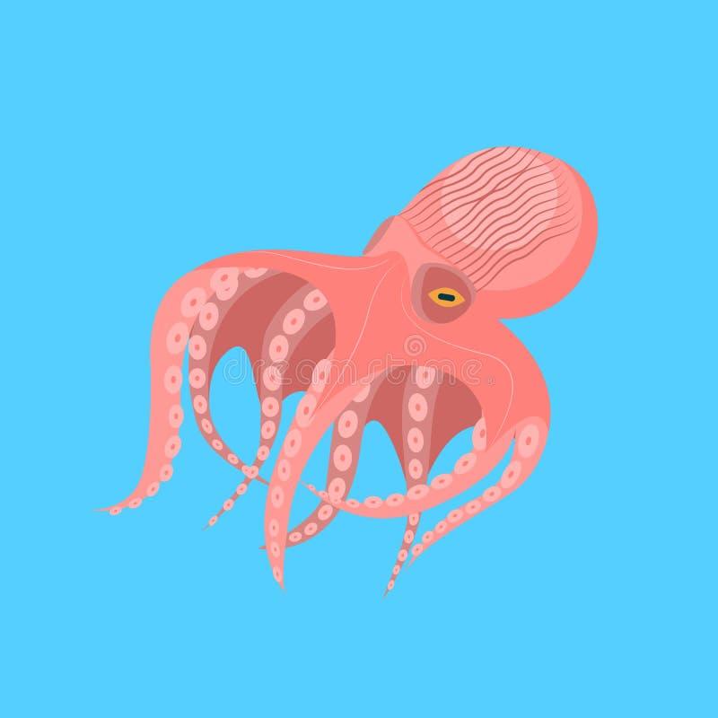 Caractère mignon de poulpe de bande dessinée sur un bleu Vecteur illustration stock