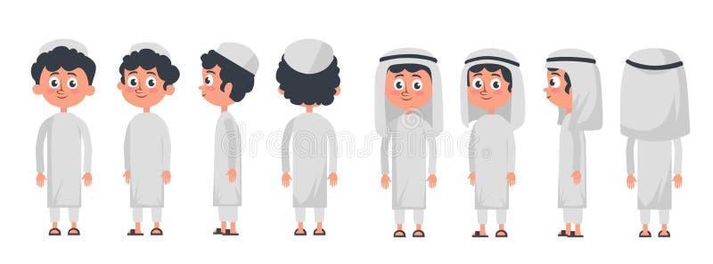 Caractère musulman arabe de garçon d'isolement sur le fond blanc Garçon musulman portant l'avant traditionnel d'habillement, arri illustration libre de droits