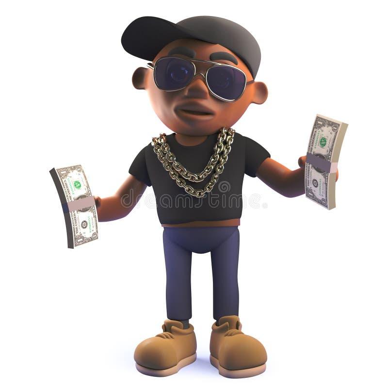 Caractère noir de chanteur de coup sec et dur d'houblon de la hanche 3d tenant des bouchons des factures de dollar US illustration libre de droits