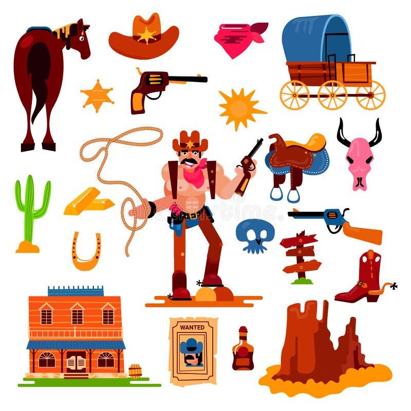 Caractère occidental de cowboy de vecteur occidental sauvage dans le désert de faune avec de cactus d'illustration le shérif d'un illustration libre de droits