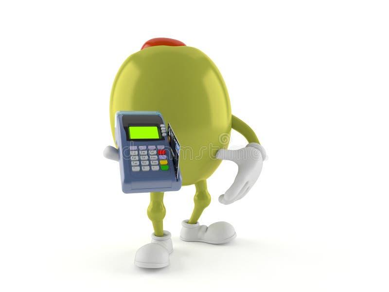 Caractère olive tenant le lecteur de carte de crédit illustration de vecteur