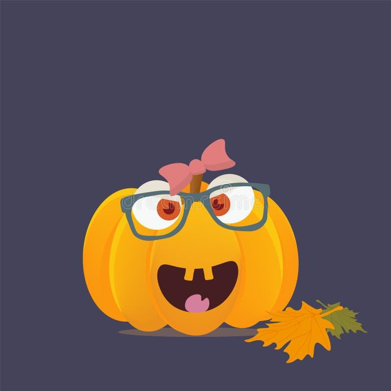 Caractère ou mascotte de potiron de Halloween avec le visage heureux de fille illustration stock