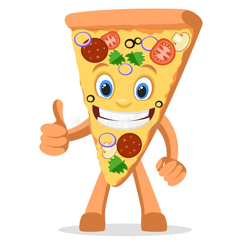Caractère par morceau de pizza avec un sourire comme des expositions sur un blanc illustration stock