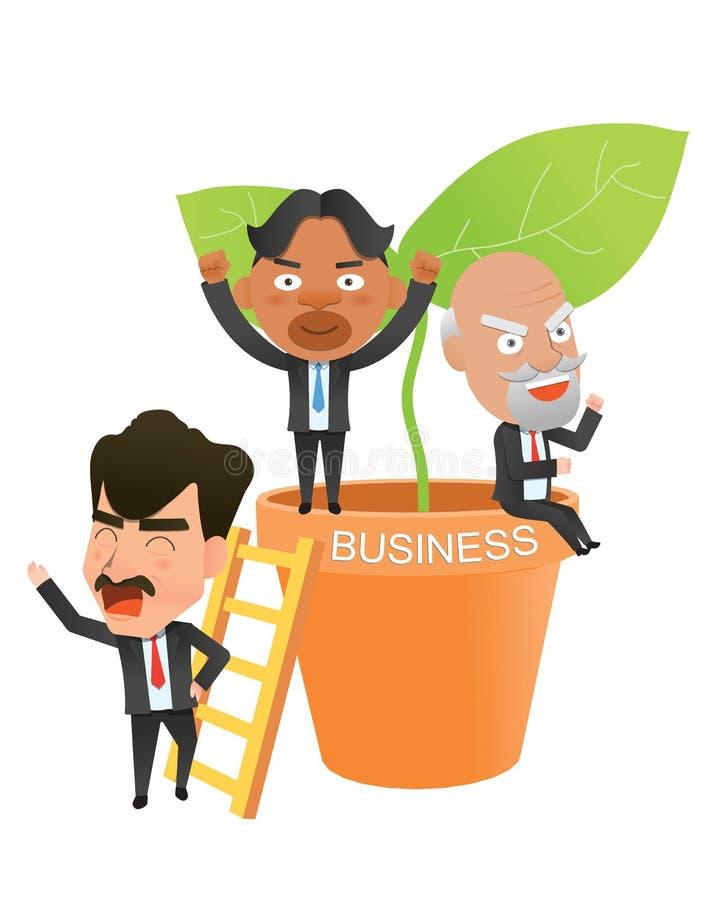 Caractère plat de concept de succès de société commerciale illustration de vecteur