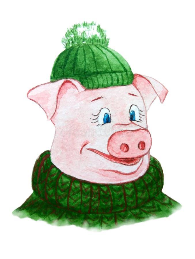 Caractère porcin drôle dans un chapeau vert et un chandail chaud illustration libre de droits