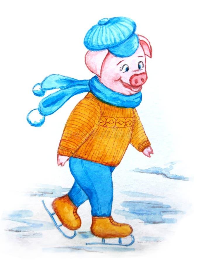 Caractère porcin mignon dans une écharpe bleue confortable et des patins d'un chapeau illustration stock