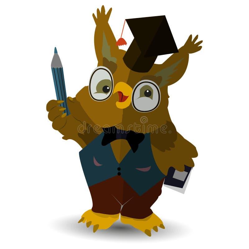 Caractère, professeur de hibou avec un crayon dans sa main, dans le chapeau du juge, sur un fond blanc illustration de vecteur