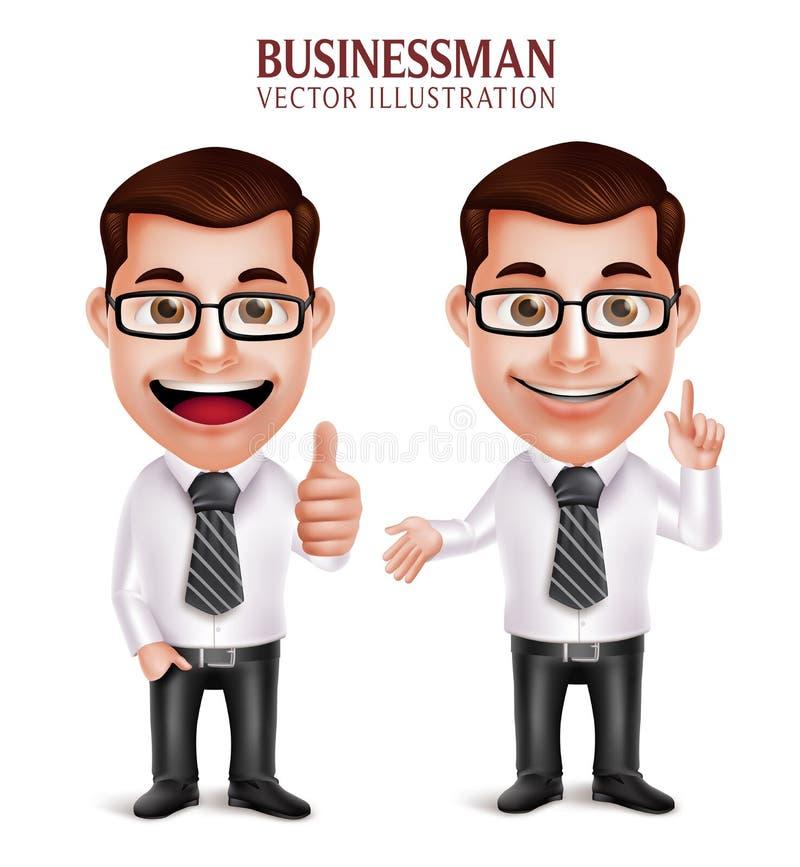 Caractère professionnel d'homme d'affaires avec le pointage et le geste de main CORRECT illustration libre de droits