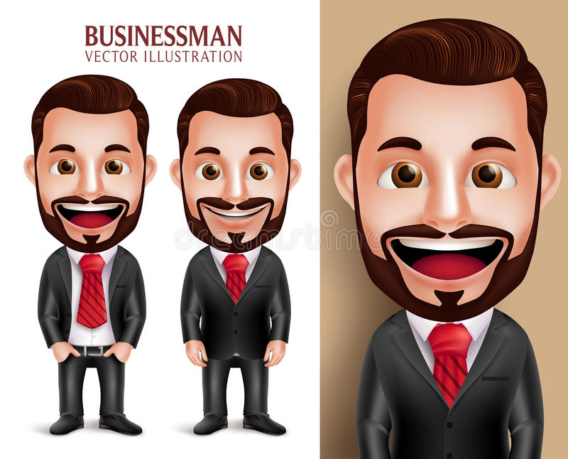 Caractère professionnel de vecteur d'homme d'affaires heureux dans le vêtement d'entreprise attrayant illustration stock