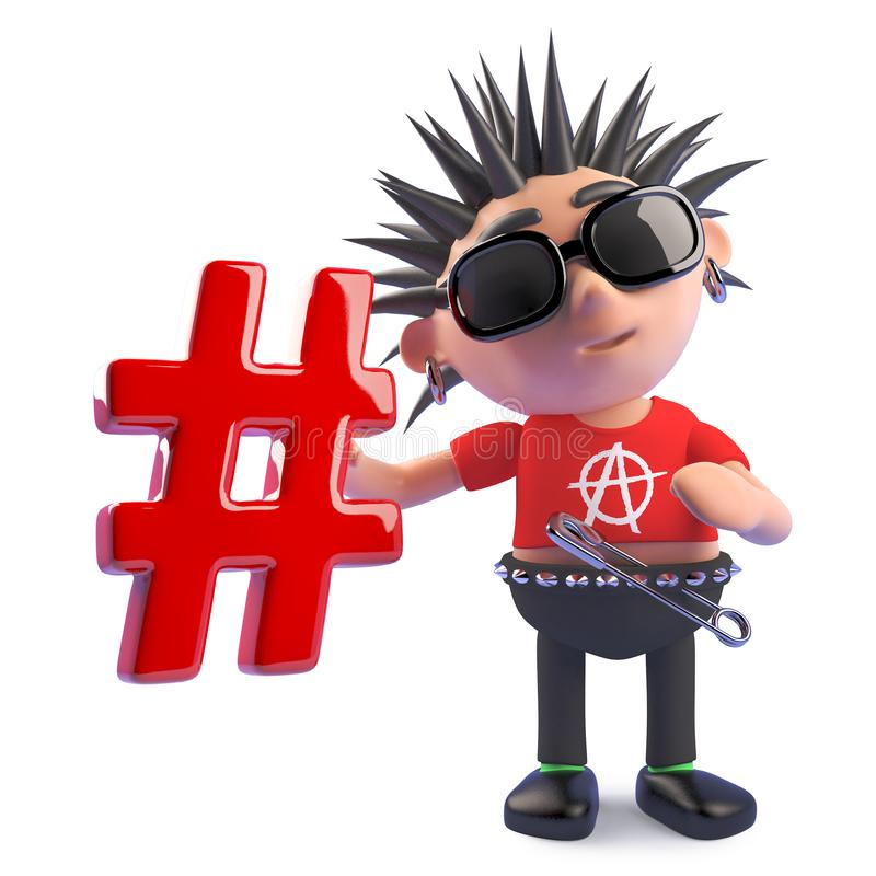 Caractère punk de bande dessinée drôle tenant un symbole de hashtag, illustration 3d illustration libre de droits