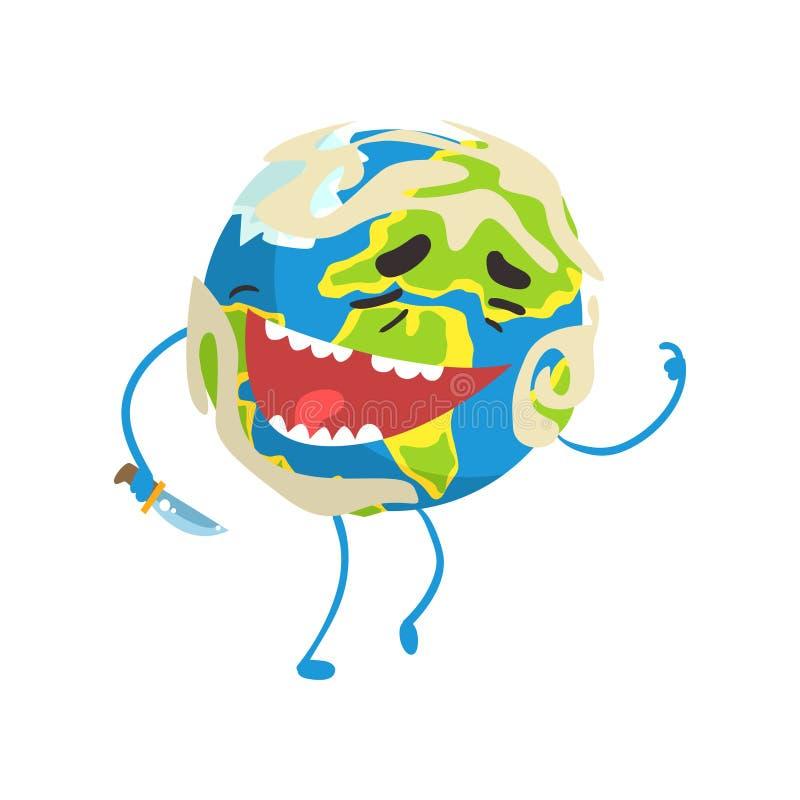 Caractère riant heureux de planète de la terre de bande dessinée, illustration drôle de vecteur d'emoji de globe illustration stock