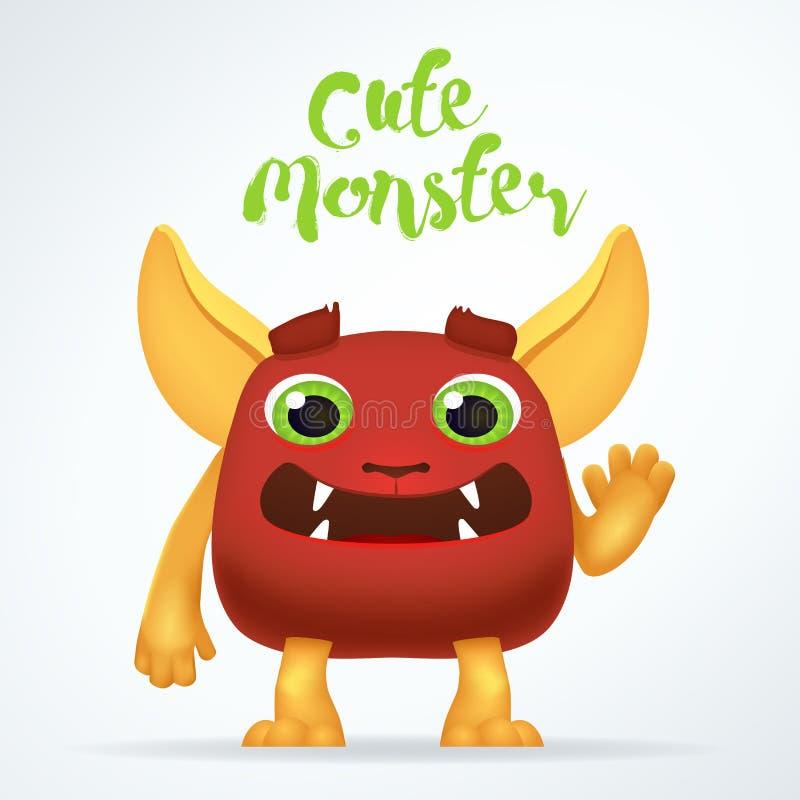 Caractère rouge de créature de bande dessinée comique avec le lettrage mignon de monstre Mutant d'amusement d'isolement sur le fo illustration de vecteur