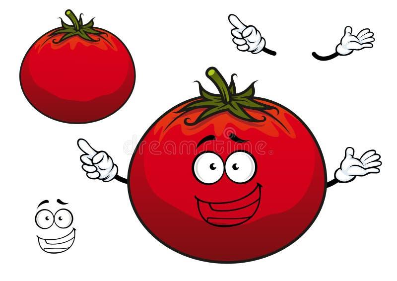 Caractère rouge dodu de légume de tomate de bande dessinée heureuse illustration libre de droits