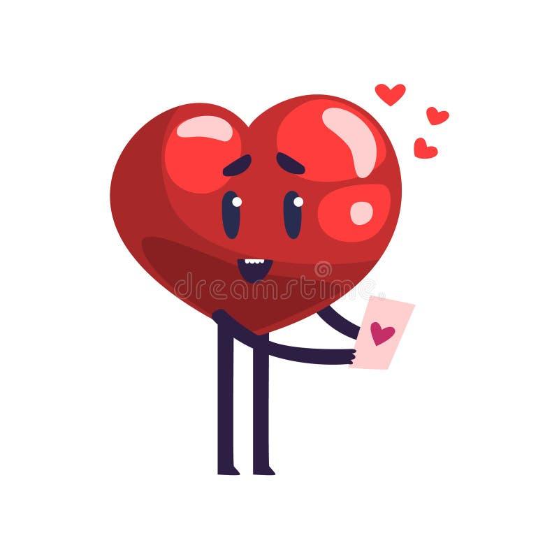 Caractère rouge mignon de coeur tenant la carte de Valentine, illustration heureuse de vecteur de bande dessinée de concept de  illustration de vecteur