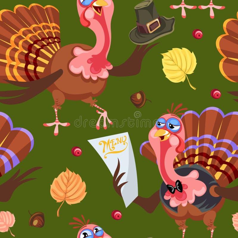 Caractère sans couture de dinde de thanksgiving de bande dessinée de modèle dans le chapeau avec la récolte, feuilles, glands, ma illustration stock