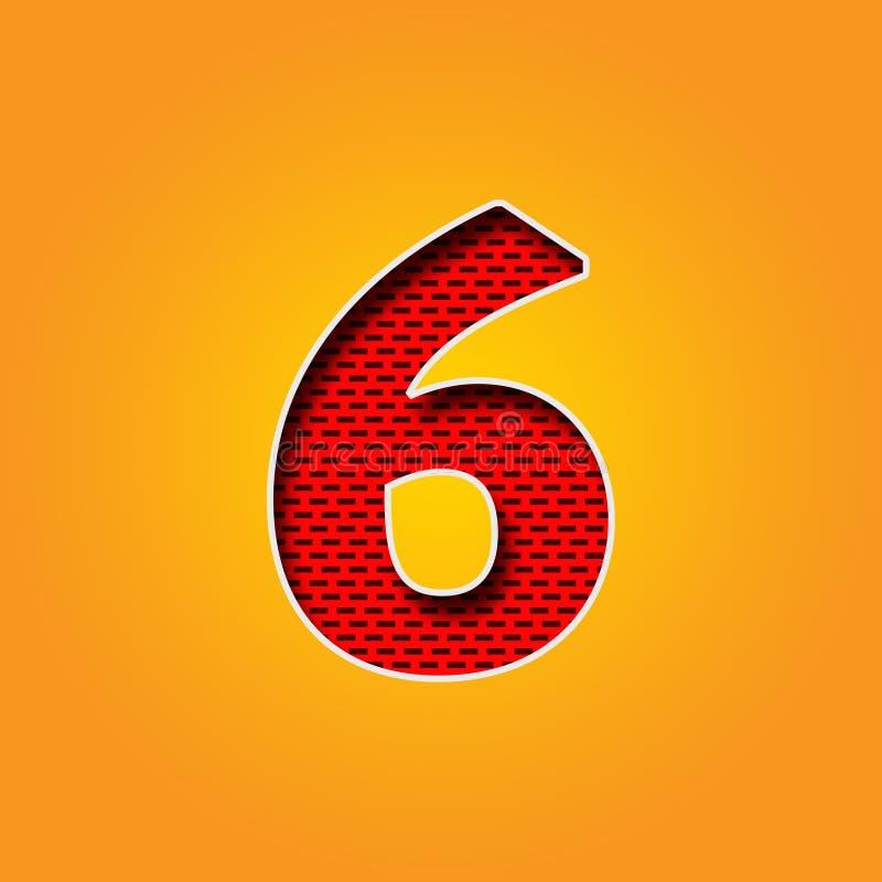 Caractère simple 6 six polices dans l'alphabet orange et jaune de couleur illustration de vecteur