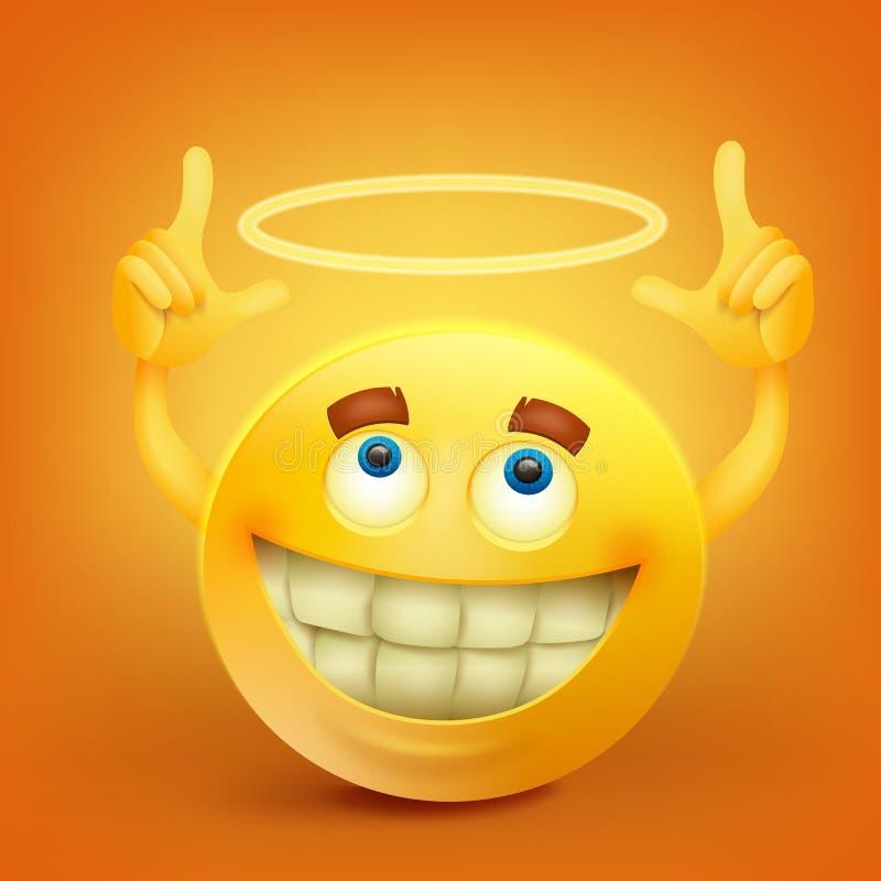 Caractère souriant jaune de visage avec nimbus illustration stock