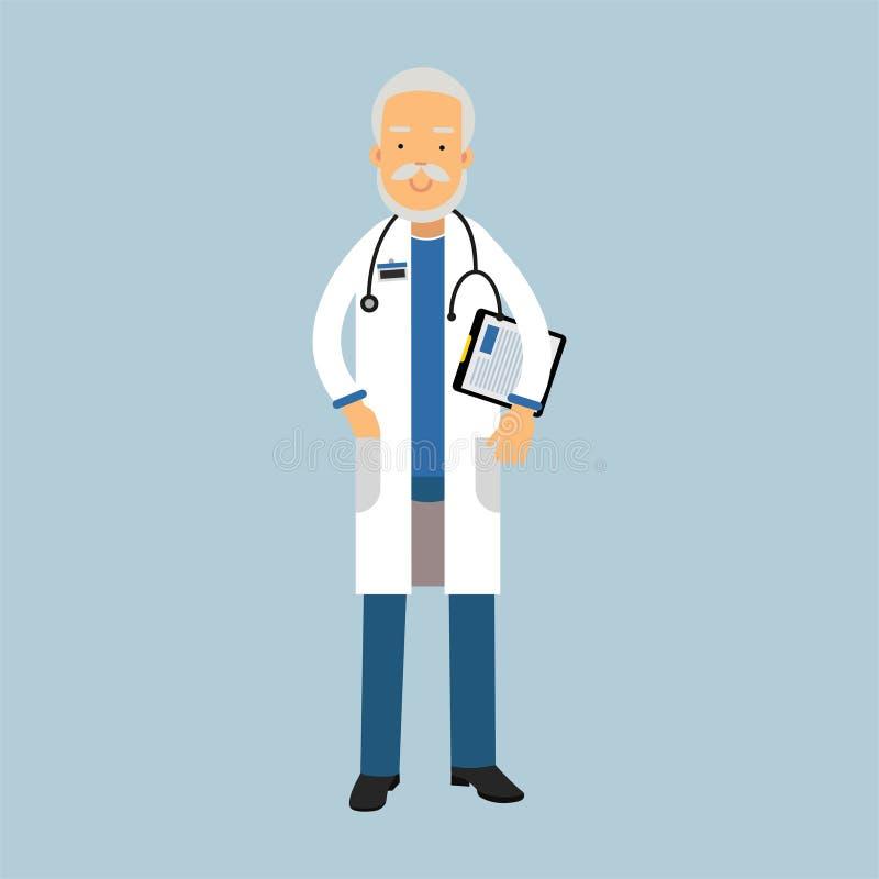 Caractère supérieur de docteur dans l'uniforme se tenant avec le stéthoscope et le bloc-notes médical avec la prescription, soins illustration libre de droits