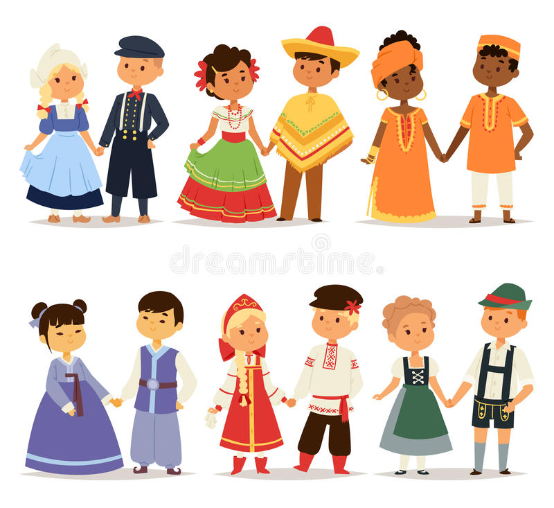 Caractère traditionnel de couples d'enfants des filles et des garçons de robe du monde dans différents costumes nationaux et peti illustration stock