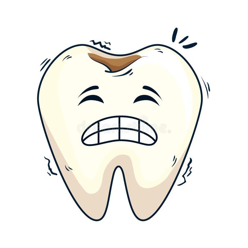 Caractère triste de kawaii de dent comique illustration de vecteur