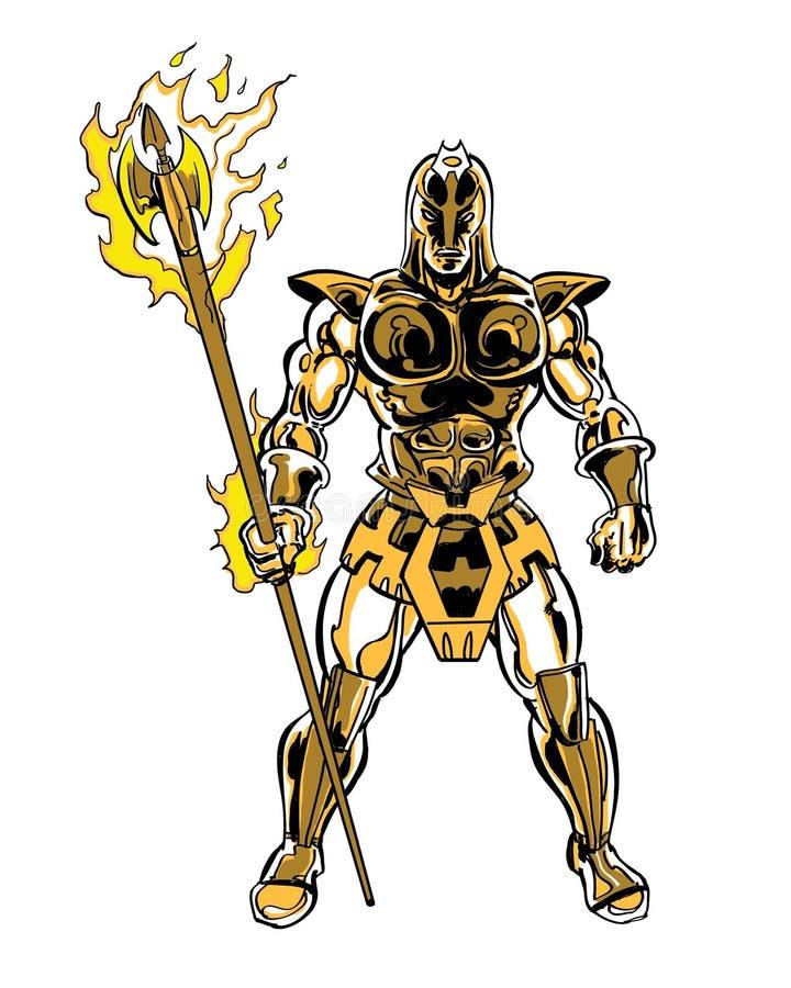 Caractère trojan cosmique illustré par bande dessinée illustration libre de droits