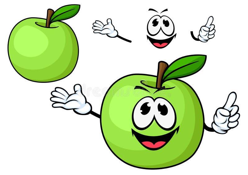 Caractère vert juteux de fruit de pomme de bande dessinée illustration libre de droits