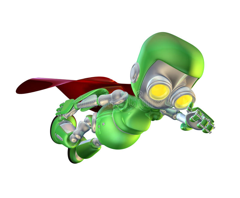 Caractère vert mignon de superhero de robot en métal illustration libre de droits