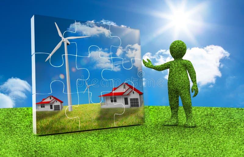 Caractère vert présentant un puzzle avec les maisons et la turbine de vent à l'intérieur illustration de vecteur
