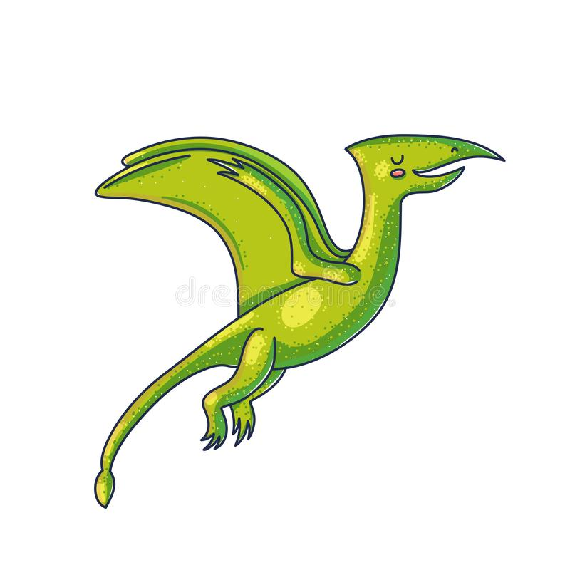 Caractère volant de couleur de bande dessinée de dinosaure illustration libre de droits