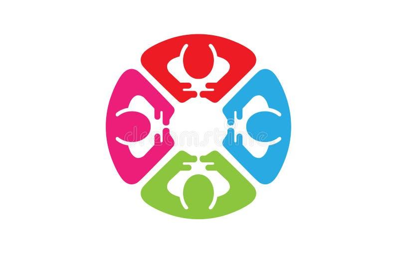 Caractères abstraits colorés Logo Design du cercle quatre de personnes illustration stock
