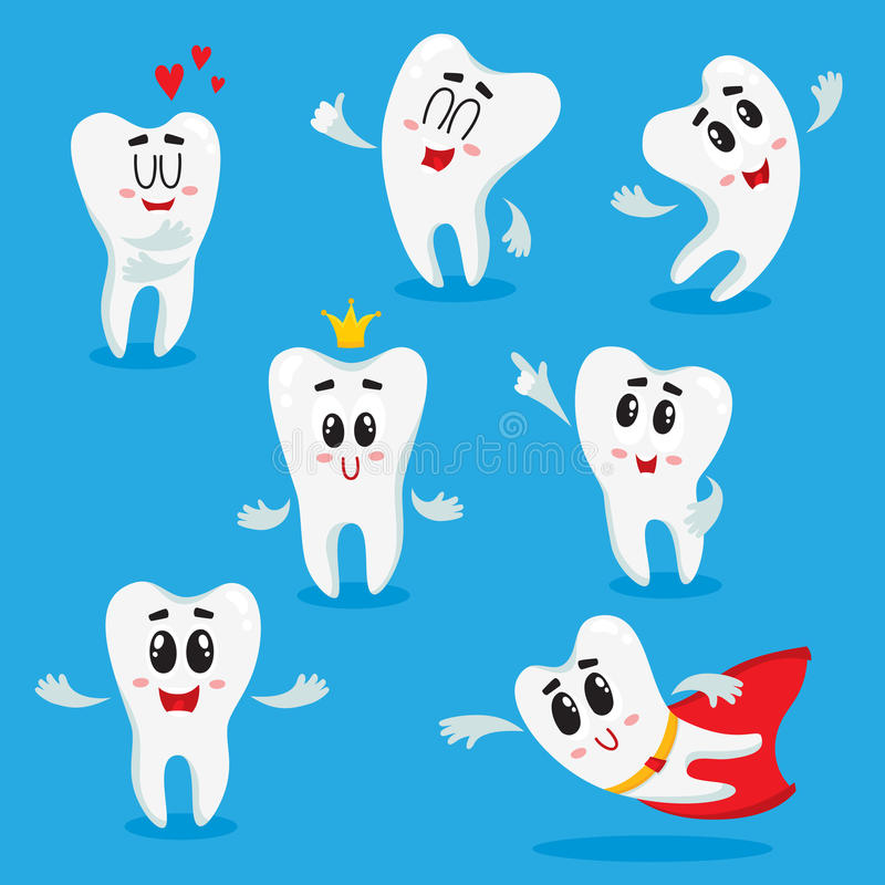 Caractères blancs brillants mignons et heureux de dent montrant de diverses émotions illustration stock