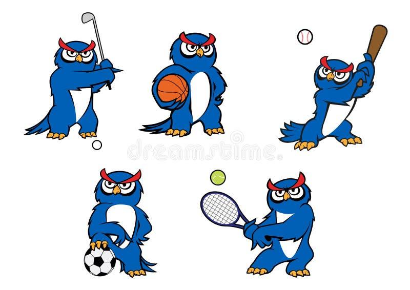 Caractères bleus de joueur de hibou de bande dessinée illustration libre de droits