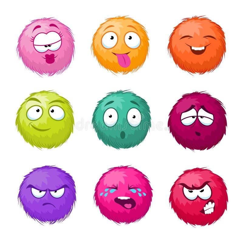 Caractères brouillés de bande dessinée de vecteur pelucheux coloré drôle de boule réglés Monstres avec émotion différente illustration de vecteur