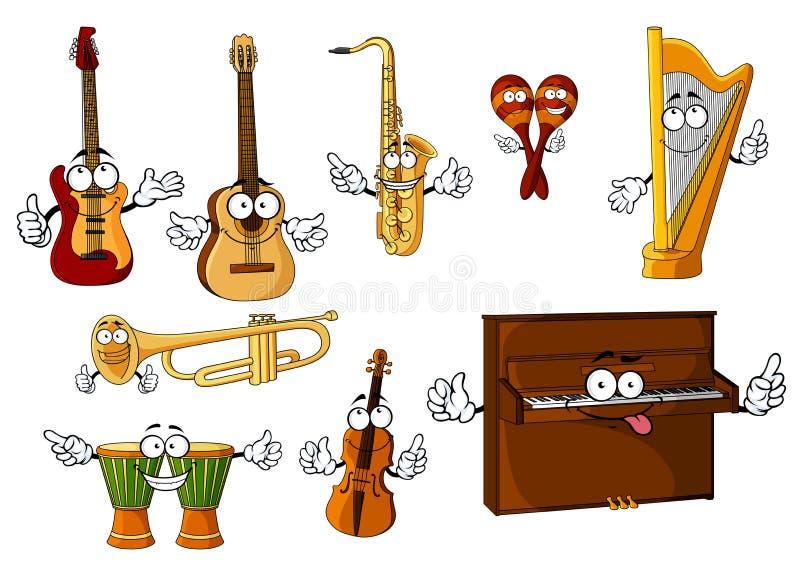 Caractères classiques d'instruments de musique de bande dessinée illustration de vecteur