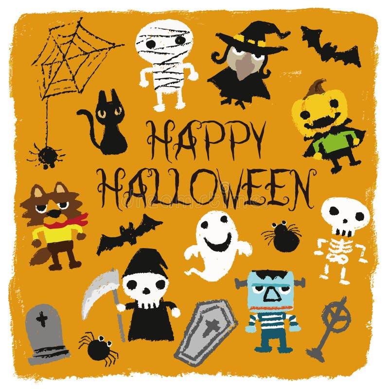 Caractères cric-o-lanterne, potiron, maman, fantôme, batte, chat noir, squelette, monstre, cercueil, tombe, loup-garou, sorcière  illustration stock