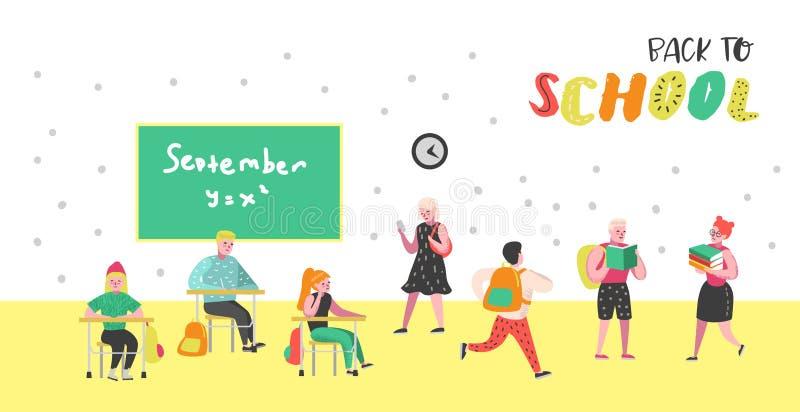Caractères d'étudiants et d'élèves réglés De nouveau à l'école badine l'affiche Salle de classe avec des écoliers avec des sacs à illustration stock