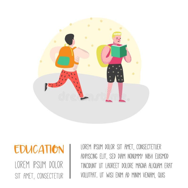 Caractères d'étudiants et d'élèves réglés De nouveau à l'école badine l'affiche Salle de classe avec des écoliers avec des sacs à illustration de vecteur