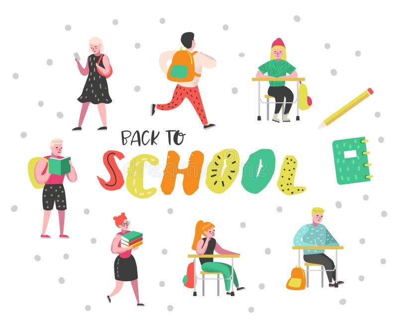 Caractères d'étudiants et d'élèves réglés De nouveau aux gosses d'école Salle de classe avec des écoliers avec des sacs à dos, li illustration libre de droits