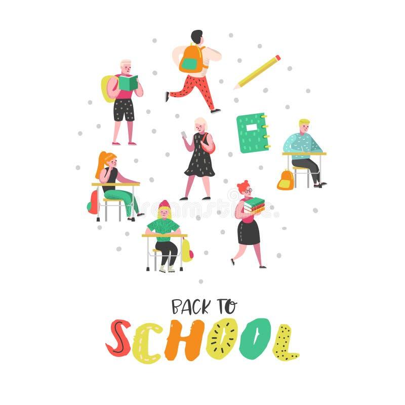 Caractères d'étudiants et d'élèves réglés De nouveau aux gosses d'école Salle de classe avec des écoliers avec des sacs à dos, li illustration de vecteur