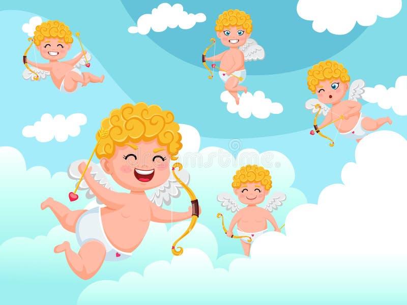 Caractères d'anges de cupidon volant avec le fond de nuages de tir à l'arc Jour heureux du `s de Valentine Elemen décoratifs d'il illustration de vecteur