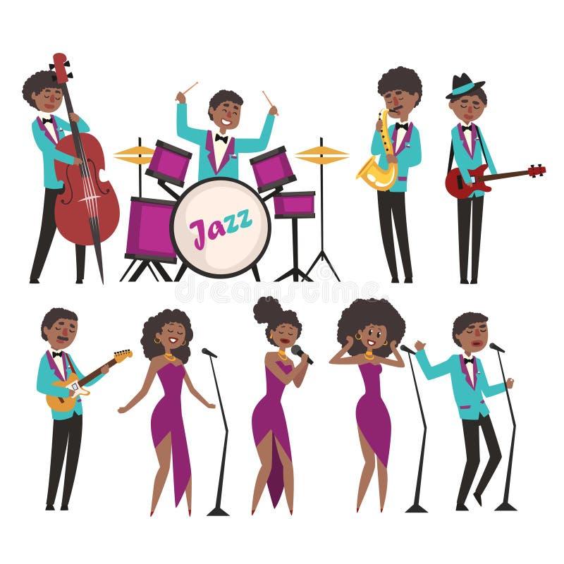 Caractères d'artistes de jazz de bande dessinée chantant et jouant sur des instruments de musique Contrabassist, batteur, saxopho illustration stock