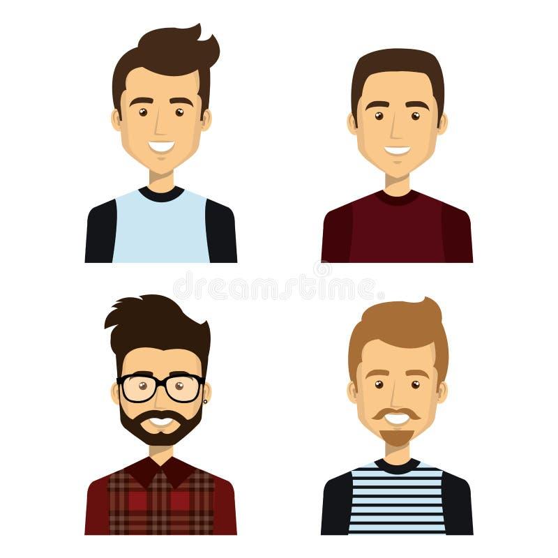 caractères d'avatars de groupe des jeunes illustration libre de droits