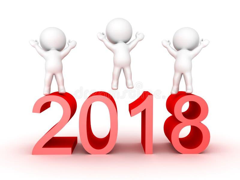 caractères 3D célébrant la nouvelle année de 2018 illustration de vecteur