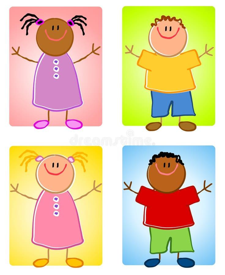 Caractères d'enfants de Cartoonish illustration de vecteur